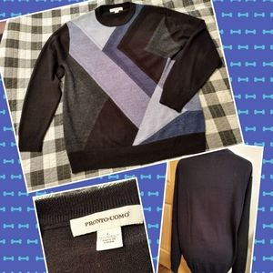 Vtg Pronto Uomo blue color block pullover L wool